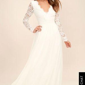 Lulus AWAKEN MY LOVE WHITE LONG SLEEVE LACE DRESS